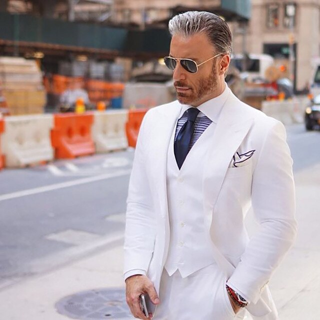 Men Suits for Wedding Tuxedos White Groom Best Man Blazer jacket 3 Pieces Smart Casual Business Street