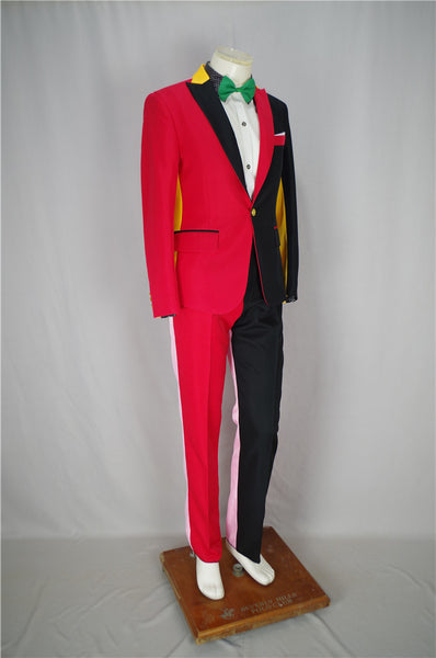 Irregular Red Black Men Suits Magician Clown Performance Stage Outfits Nightclub Male Singer Host Blazers Pants Hip-Hop Costumes