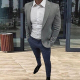 men suits grey peaked lapel blazer navy blue pants casual suit slim fit male jackets for wedding prom street terno 2 pieces