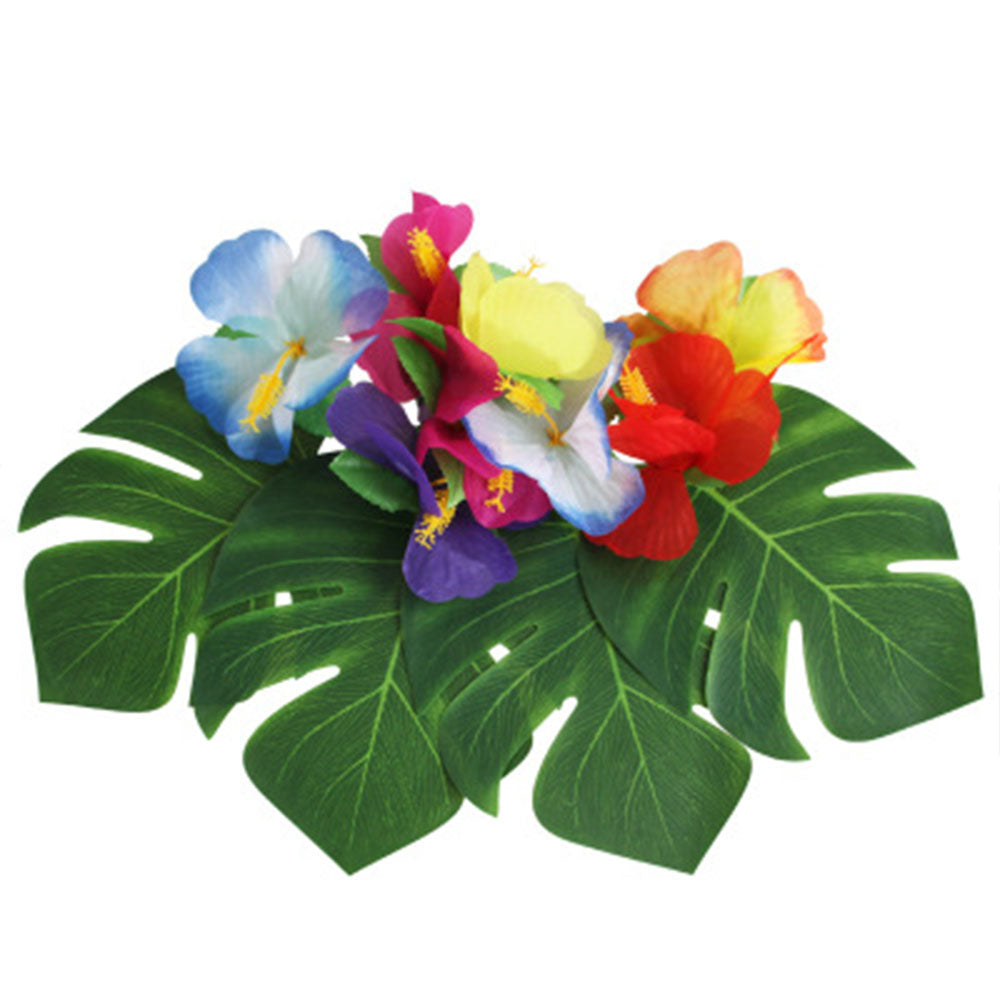 12pcs/Lot Fabric Artificial Palm Leaves Hawaiian Luau Party Jungle Beach Theme Party Decor - myshoponline.com