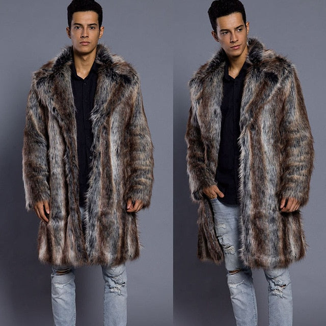 New Winter Men's Turn-down Collar Faux Mink Fur Coat Printed Striped Long Windbreaker Loose Casual Male Fox Leather Jacket