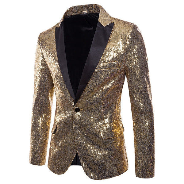 Mens Fashion Black Sequin Blazer Jacket Men Nightclub Party Stage DJ Singer Costume Homme Slim Fit One Button Suit Jacket Male