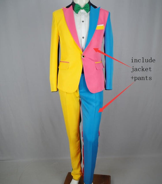 Irregular Colorful Men's Suits Fashion Slim Blazers Trousers Sets Nightclub Magician Clown Performance Costume Stage Outfit