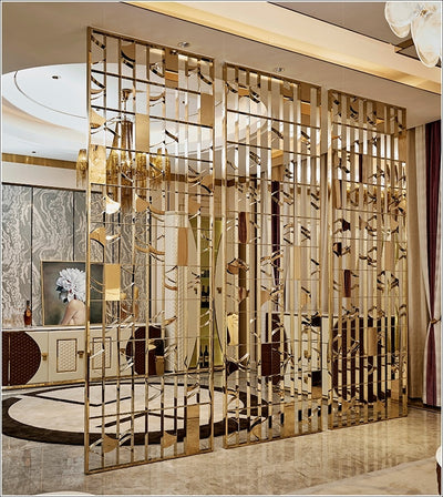 Decorative Interior Metal Wall Divider Panels / Architectural Metal Screens Gold Vanish / Artisan Stainless Steel  Screen Wall - myshoponline.com