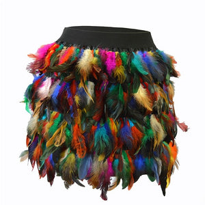 Rainbow Newly Concise Luxury Sexy Style Fashion Women Christmas Santa Halloween Faux Feather Cosplay Mini Skirt