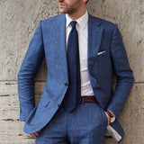 Blue Beach Linen Men Suit Slim Fit 2 Piece Tuxedo Custom Blazer Groom Prom Suits Masculino Jacket+Pant - myshoponline.com