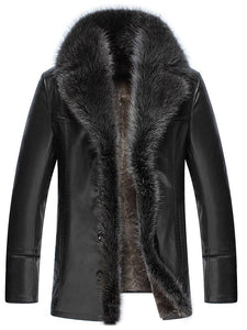 Faux Fur Collar men Faux Leather Jackets Winter Thicken Coat jaqueta de couro chaqueta  PU Leather jacket men