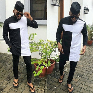 African Fashion Dashiki Man Shirt Sets O-neck Top And Trouser Men's Outfit African gatherings Wear Patchwork Black/white Mix