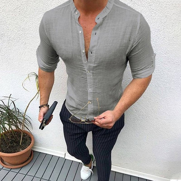 Autumn Plain Mens Dress Shirts Long Sleeve Dress Male Tops Slim Fit Button Shirts V Neck Muscle Tee Men Clothes - myshoponline.com