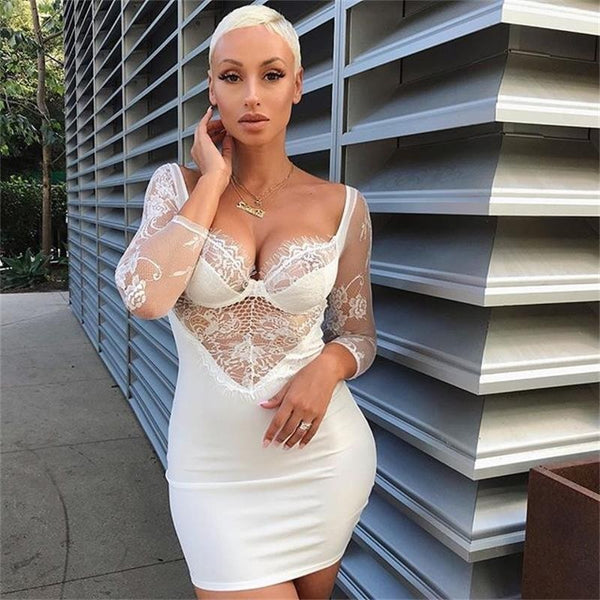 Lace Dress Bodycon Ladies V Neck Dress 2019 Backless Pocket Hip Party Dresses Women Sexy Night Club Wear