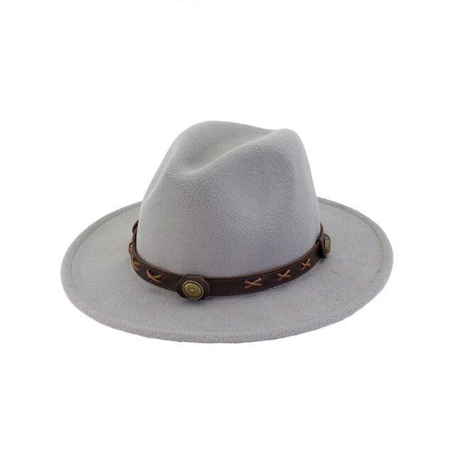 Woolen Felt Hat Panama Trilby Jazz Fedoras hats with Brown Belt Flat Brim Formal Party Top Hat for Women men unisex GH-450