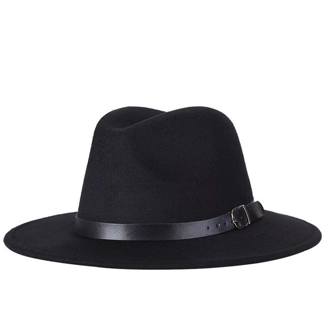 Fashion Solid Color Fedoras Vintage Felt Hats Men Women Top Hat Jazz Cap Winter Panama Women Hat For Church British Flat Cap