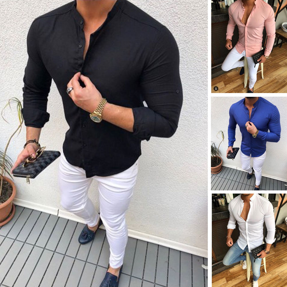 Men's Slim V Neck Long Sleeve Muscle Solid Shirt Casual Shirts Tops Blouse Men Fit Buttons Shirt