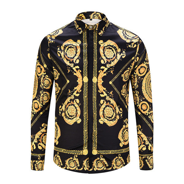 Men Gold Palace Floral 3D Print Shirts Man Hipster Luxury Dress Shirts Chemise Homme  New Fashion Clothes camisa masculina