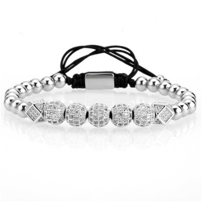 Men bracelet/charm/king/Queen/gold/couple bracelets & bangles pave cz cubic zircon stainless steel beads jewelry male