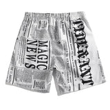 Newest Men's White Board Shorts Plus Size Swimming Trunks Boy's Surfing Short Homme Bermuda Surf Newspaper Printed Beach Pants