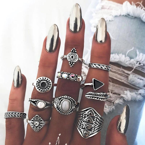 10 Pcs/set Fashion Vintage Leaves Triangular Opal Midi Hollow Gem Rings Set Women Charm Joint Ring Valentines Day Gift