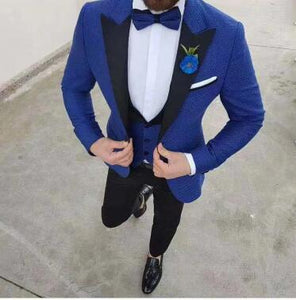 Men Suit Slim Fit 3 Pieces Tuxedo Groom Groomsman Custom men suits for wedding ternos para hombre kingsman blue suit black pant