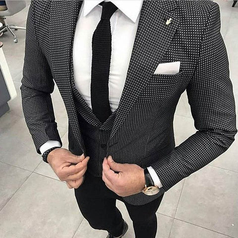 BEST Slim Fit Men SuitsThree Piece Jacket Vest Black Pants Notched Lapel Tailor Made Waistcoat Blazer Wedding Tuxedos - myshoponline.com