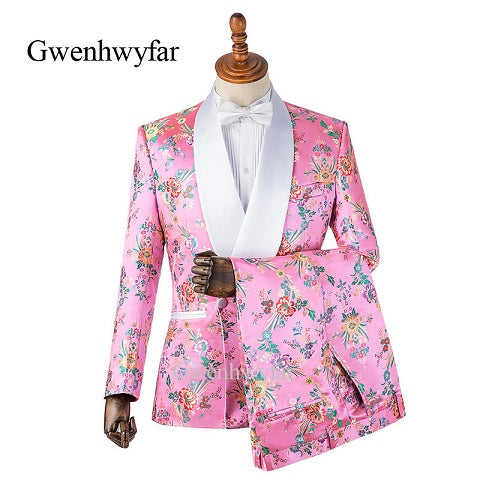 Gwenhwyfar Colorful Begonia Flower Printed Men Suits Pink Tuxedos Shawl Lapel Double Breasted Men Wedding Suits (Jacket+Pants)