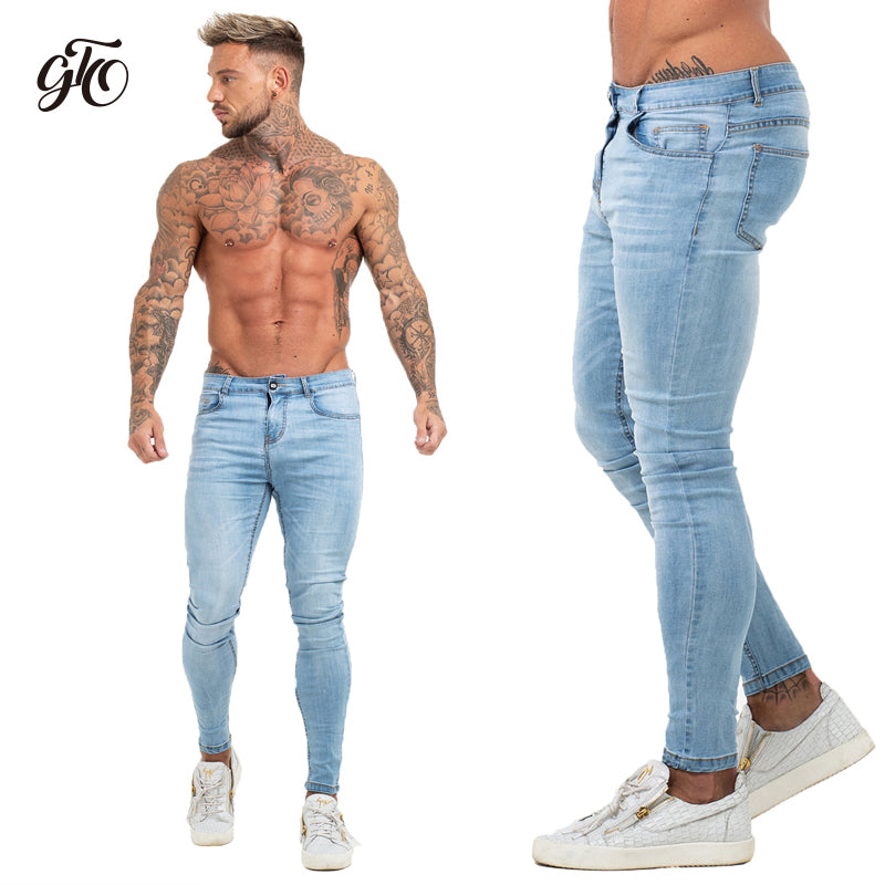 Mens Skinny Jeans Super Skinny Jeans Men Non Ripped Stretch Denim Pants Elastic Waist