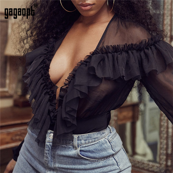 Lace Bodysuit Women Deep V neck Sexy Bodysuit See Through Black Bodysuit Jumpsuit Overalls Streetwear
