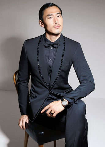 Latest Coat Pant Designs Black Rhinestone Men Suit Slim Fit Skinny 2 Piece Tuxedo Custom Prom Suits Groom Blazer Masculino