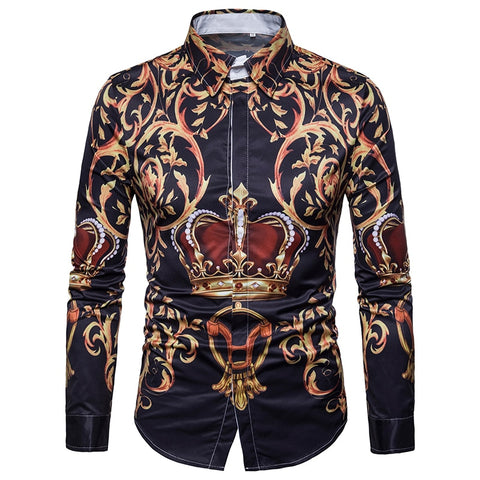 Palace Crown Printed Shirt Men  Brand New Long Sleeve Mens Dress Shirts Men Casual Business Slim Fit Chemise Homme