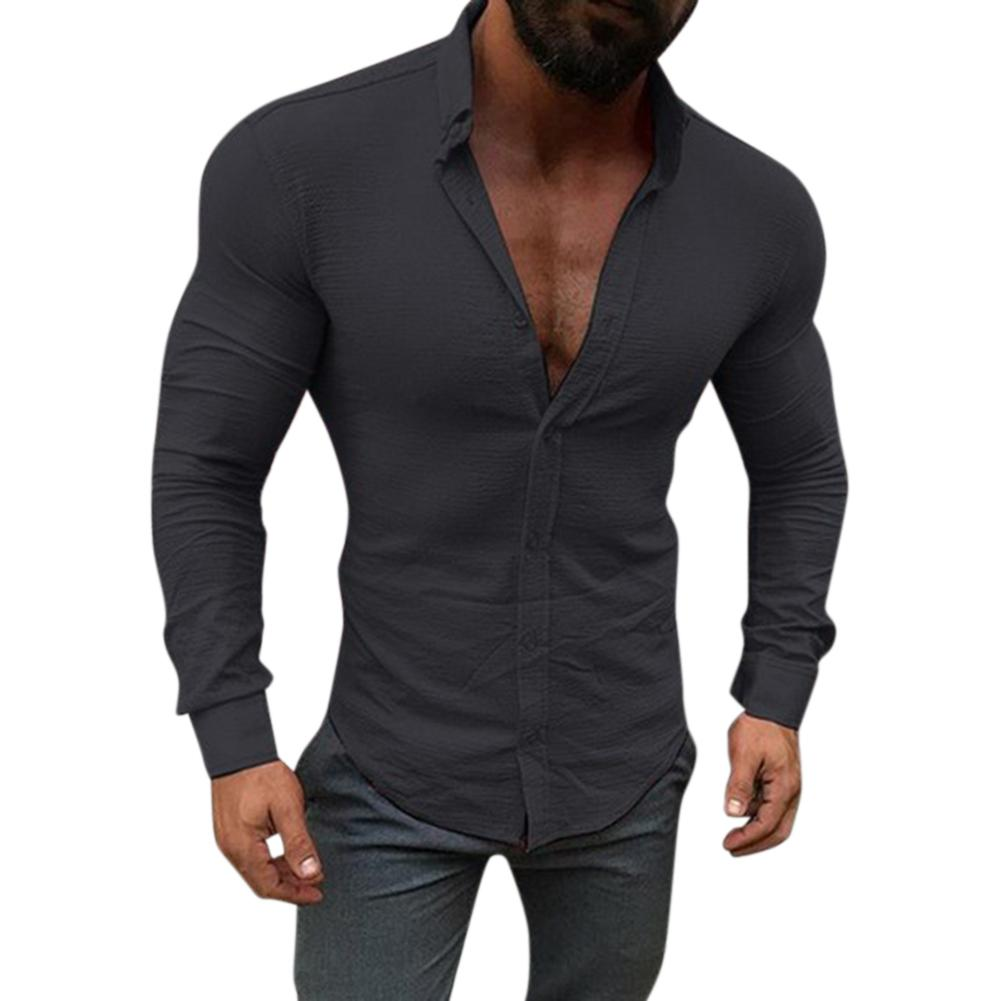 Men Shirt Long Sleeve Slim Fit Solid Color Leasure Tops Button Lapel Casual  Shirt 0d6cb9ed4fc7