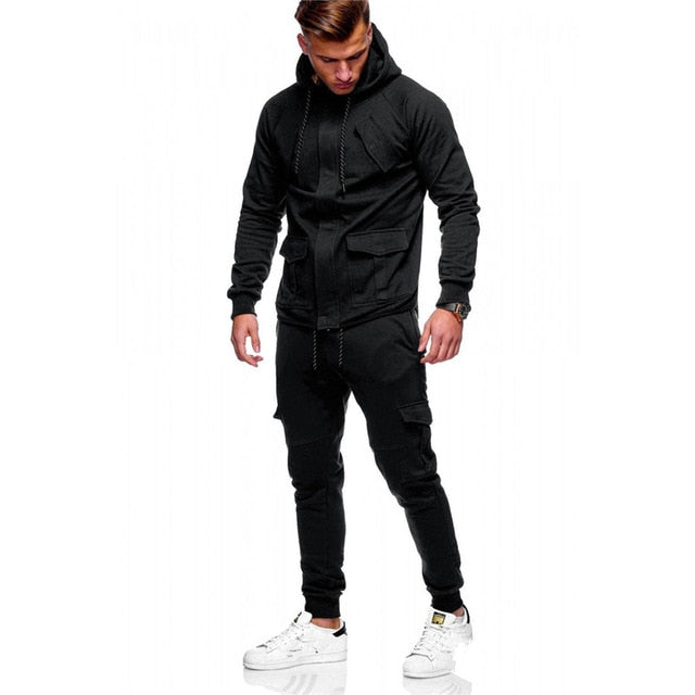 Men Track Suits Hooded Jacket Sweatsuit Sports Suits New Sportswear Men's Jogger Sets Solid color Tracksuit Men Clothes