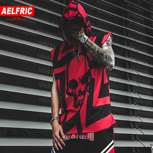 Tank Tops Men Summer Hip Hop Hooded Sleeveless Skull Print Color Block  Punk Style Vest Casual Streetwear Male Tees