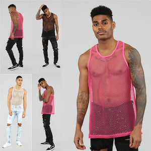 Hot Men Gym Tee  Bodybuilding Strong Hoodie Tank Tops  Muscle Vest Fashion Man Fishnet Tank