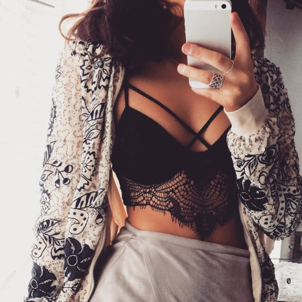 Sexy Floral Sheer Lace Crop Top Women Triangle Strappy Bralette Bustier Top Camis Women Black Crop Tops