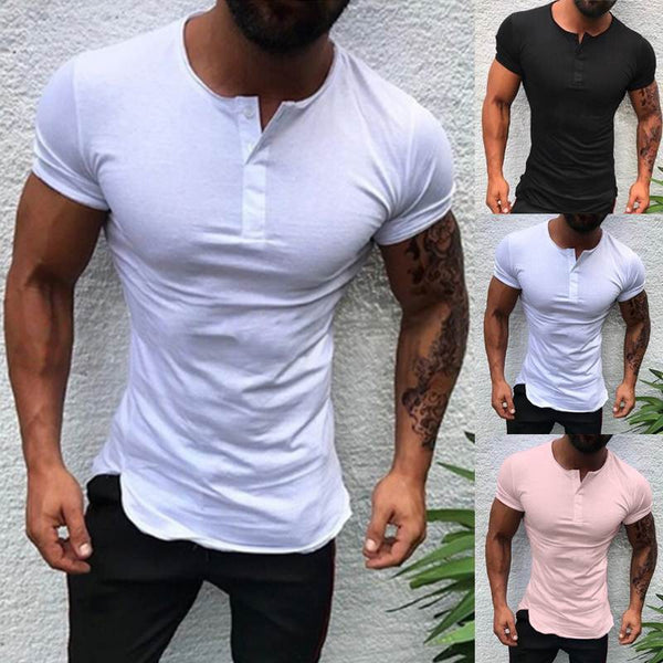 Stylish Plain Tee Tops Men T Shirt Short Sleeve Muscle Joggers Bodybuilding Tee Male Clothes Slim Fit White Pink Tee Henley 3XL