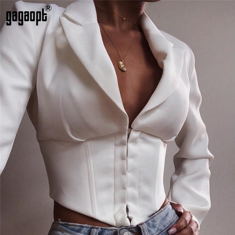 Long Sleeve Crop Tops Women Turn Down Collar Sexy Tops Ladies White Bodycon Tops Blusas