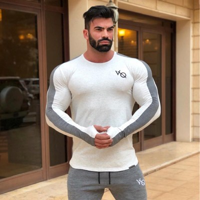 Spring summer Slim shirts male Tops Leisure Bodybuilding Long Sleeve personality tees clothin