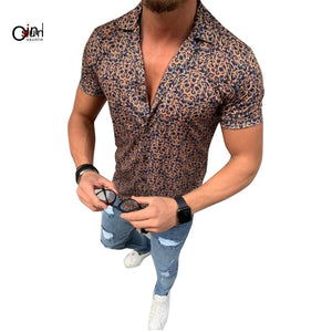 Men's Shirt Casual Short Sleeve Single Breasted Shirts Male Lapel Floral Print Open Stitch Loose Shirts Camisa Masculina