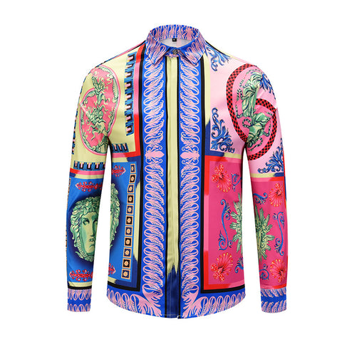 New Arrival Luxury Shirt Brand Men Dress Shirts Fashion 3d Print Casual Slim Fit Long Sleeve High Quality Camisas