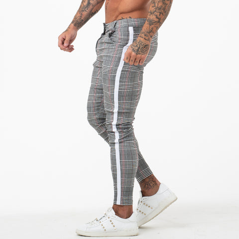 Mens Chinos Slim Fit Men Skinny Chino Pants Super Comfy Stretch Pants For Men Plaid Design Side Stripe