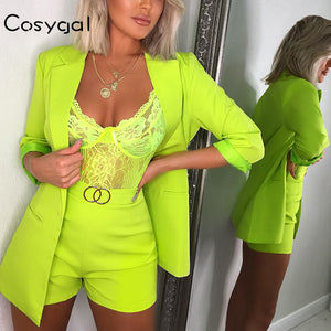 Official New Long Sleeve Two Piece Set Top And Shorts Summer Clothes For Women 2019 Nightclub 2 Piece Set Women Set Outfits Suit