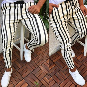Man Pants Brand New Mens Skinny Slim Fit Bottom Stripe Casual High Pants With Pockets Workout Hip Hop Track Trousers