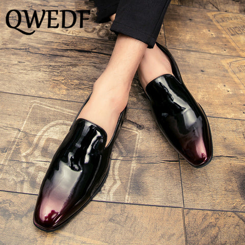 Men Dress Loafers Retro Elegant Formal Business Brand Men Shoes Italian Style Oxfords Gold Black Comfortable Male Shoes