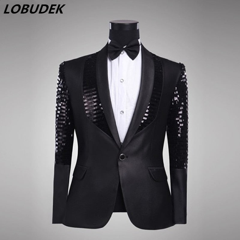Black Sparkly Sequins Men Suit Jackets Formal Wedding Groom Coat Nightclub Male Singer Group Chorus Costume Host Stage Outerwear
