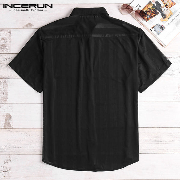 Fashion Striped Sexy Shirt Men Transparent Short Sleeve Button Up Tops See Through Party Nightclub Men Shirts