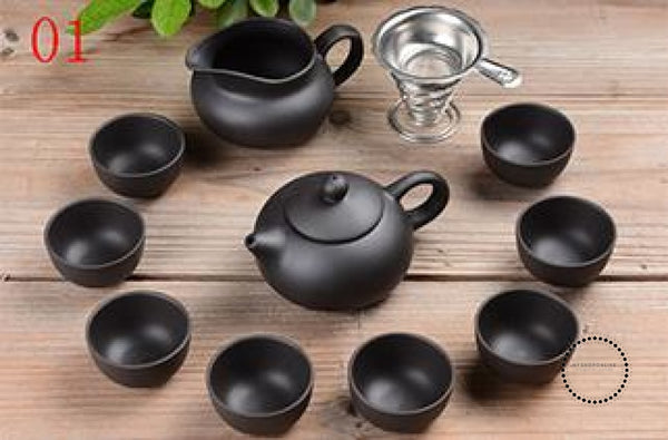Purple Sand Tea Set 11Pc Black Ceramic Kung Fu Teapot Handmade 01 Accesorios