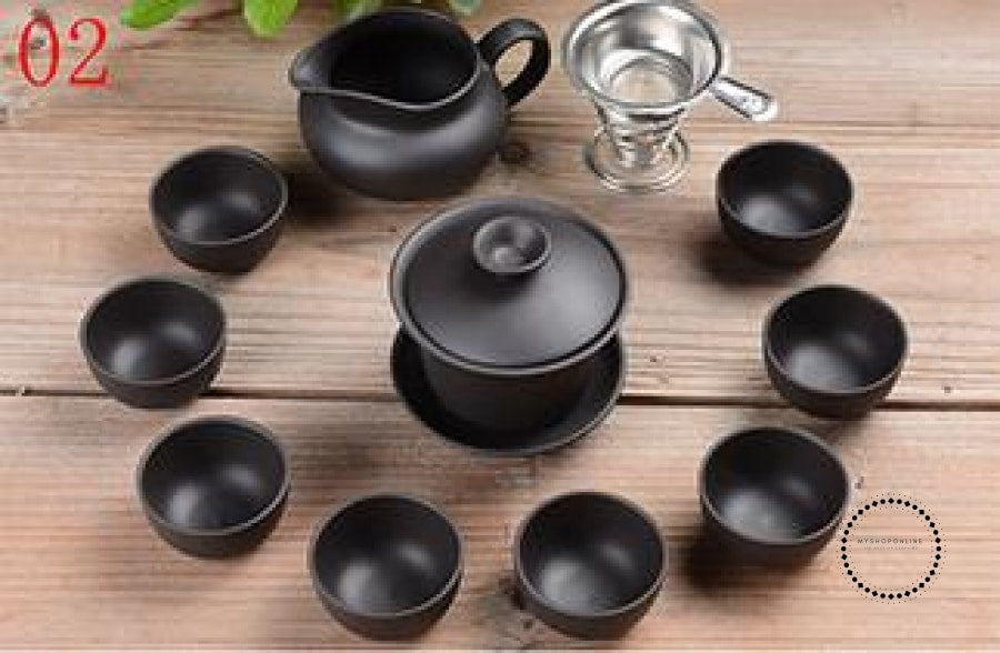 Purple Sand Tea Set 11Pc Black Ceramic Kung Fu Teapot Handmade 02 Accesorios