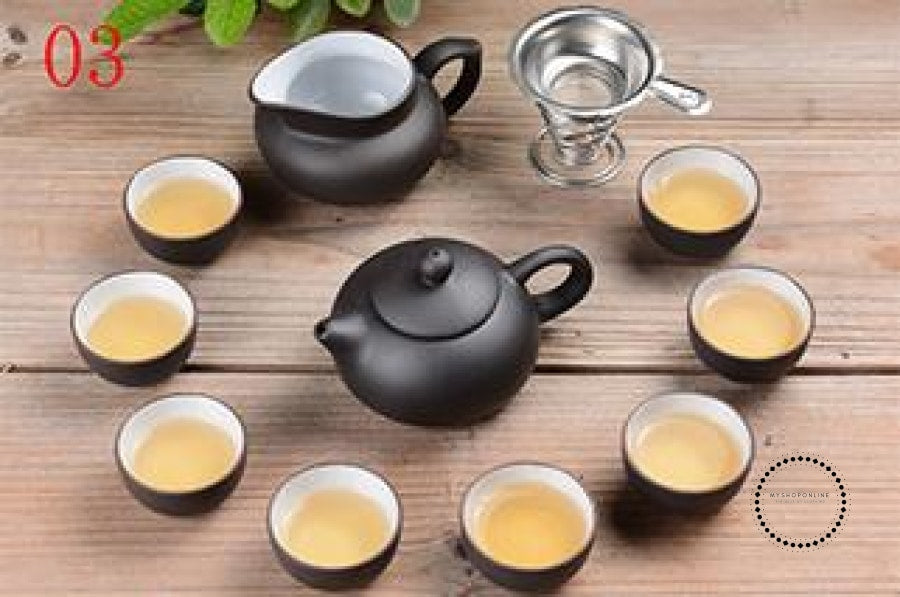 Purple Sand Tea Set 11Pc Black Ceramic Kung Fu Teapot Handmade 03 Accesorios