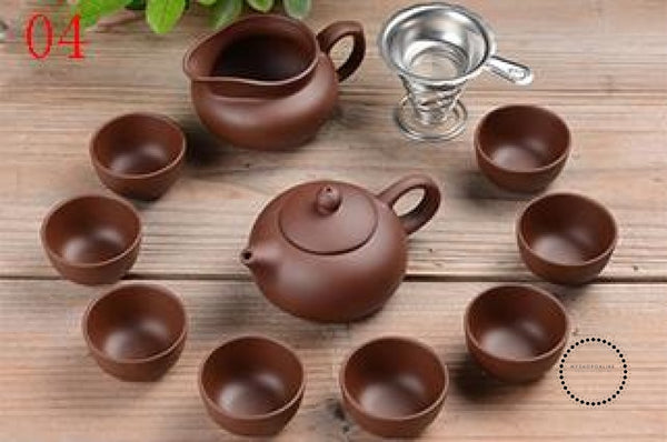 Purple Sand Tea Set 11Pc Black Ceramic Kung Fu Teapot Handmade 04 Accesorios