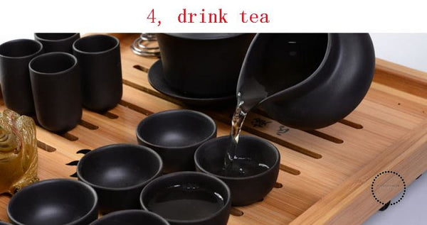 Purple Sand Tea Set 11Pc Black Ceramic Kung Fu Teapot Handmade Accesorios