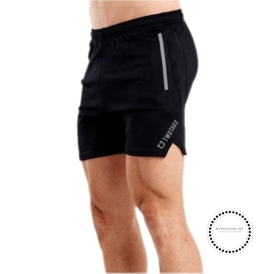 Quick Dry Shorts Mens Sexy Middle Waist Tight Summer Beach Casual Breathable Elastic Male Black / M